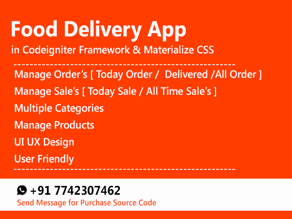 Ecommerce Web Application Project Codeigniter PHP Project Online Shop Food Delivery Project