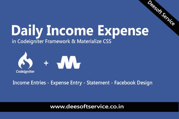 Income Expense Project Codeigniter